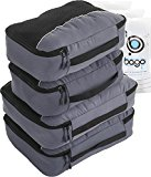 Packing Cubes 4pcs Value Set for Travel - Plus 6pcs Organizer Zip Bags (Gray)