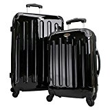 Swiss Case 4 Wheel Hard 2Pc Suitcase Set Black
