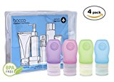Bocco Leak Proof Squeezable Travel Bottles, Flight Cabin Approved Travel Accessories for Hand Luggage - Perfect for Liquid Toiletries - 4 Pack (All Small 1.25 oz/37 ml Bottles) (Blue/Pink/Green/Purple)