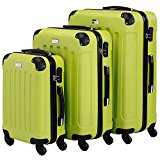 VonHaus 3pc Hard Shell ABS Trolley Suitcase Luggage Set with 4 Rotating Wheels, Combination Lock & Telescopic Handle - Green