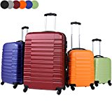 Vojagor Trolley Suitcase (Choice of Colors and Sizes) 4 Castor Wheels Bump Resistant ABS Hardshell Luggage with Telescopic Handle and Push Button (Silver, M)