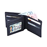 Hoobest RFID Blocking Genuine Leather Wallet for Men - Excellent as Travel Credit Card Case/Wallets/Protector - RFID Blocking Wallet (Black)