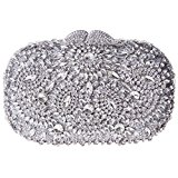 Santimon Women Clutch Rotating Flower Purses Luxury Rhinestone Crystal Evening Clutch Bags with Removable Strap and Gift Box Silver