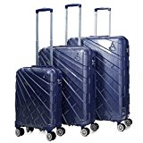 Aerolite PCF Hard Shell Polycarbonate 8 Wheel Spinner Luggage Suitcase Travel Trolley Case With TSA Approved Combination Lock (Blue, 21