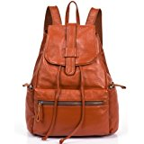 GoGou Vintage Travel Backpack For Women Genuine Leather Drawstring Bag (Brown)