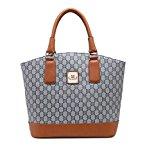 Gossip Girl - Designer Inspired Ladies Handbag With Contrasting Trim & Long Strap (Blue)