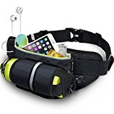 Running Belt with Water Bottle Holder MYCARBON Fitness Waterproof Bum Bag Running Water Bottle Waist Bag Jogging Belt Dog Walking Bag Perfect for Travel Holidays Camping Climbing Hiking Outdoor Sports Fit iPhone 7 plus Galaxy S6,S7 Edge, includes Key Hook
