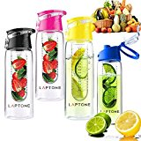 Laptone Fruit infuser fruit infusing water bottle 800ML With Flip Lid 100% BPA-Free Flip Lid for easy use Best for Gym, office n outdoor use