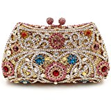 Santimon Women Clutch Luxury Purse Flower Rhinestone Crystal Evening Bags with Removable Strap and Gift Box Multicolor