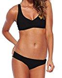 Moollyfox Women's Sporty Backs Lace Splicing 2 Piece Beachwear Athletic Casual Swimwear Low Waist Shoulders Straps Bikini Set Black L