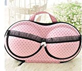 Travel Underwear Bar Storage Box Covered bra Finishing Box Panties Socks Travel Portable Storage Box & Bra Bag (pink lace)