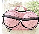 Travel Underwear Bar Storage Box Covered bra Finishing Box Panties Socks Travel Portable Storage Box & Bra Bag (pink lace)