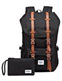 KAUKKO Stylish Backpack for Teens School Hiking Travel Camping Black