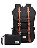 KAUKKO Stylish Backpack for Teens School Hiking Travel Camping Black