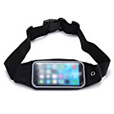 ULTRICS® Running Belt Waterproof Runner Waist Pack Bag for iPhone 6Plus/6S Plus Transparent Touch Screen Window with Accessories Gear & Headphone Pouch for Running Walking Hiking Camping and More