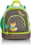 Lassig Kids Backpack Pre-School Kindergarten with chest strap, name badge and drink Bottle Holder, Little Tree Fox