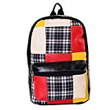 TopTie PU Leather Color Blocking Patchwork Backpack with Plaid Detail - Black