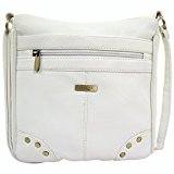 Ladies / Womens Faux Leather Cross Body Bag / Shoulder Bag with Stud Design - White
