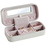 Beautify Faux Leather Zipped Jewellery Compact Travel Case with Mirror - Cream/ Pink