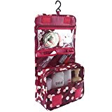 Discoball Portable Travel Folding Make up Toiletry Bags with Hook Organizer Bags Cosmetic Bags(Wine Red Flower)