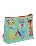 Santoro Eclectic Cats With Bowties Coated Accessory Case Washbag