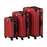 VonHaus 3 Piece Red Lightweight Extra Strong ABS Hard Shell Luggage Set