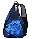 ICOLOR Shoulder Chest Bag for Men Women, Lightweight Sling Daypack with Adjustable Shoulder Strap, Unisex Camping Hiking Cycling Bicycling Travel Backpack School Backpack (blue lion)