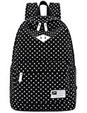 Canvas Backpack Travel School Shoulder Bag Dot Printing Teenage Girl's Bags for 14