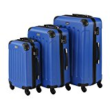 VonHaus 3 Piece Blue Lightweight Extra Strong ABS Hard Shell Luggage Set