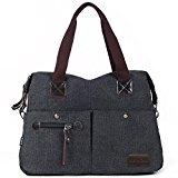Eshow 14 inch laptop Women's Canvas Handbag Everyday Purse Tote Crossbody Multipurpose Shoulder Bag, Black