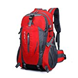40L Hiking Backpack, Hansee Waterproof Nylon Travel Luggage Rucksack Backpack Bag (Red/Orange/Hot Pink/Green/Dark Blue/Blue/Black/Army Green) (Red)