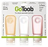 humangear GoToob 3 Pack Large Liquid Travel Bottles - Clear/Orange/Red, 60 ml