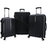 Traveler's Choice Tasmania 3-Piece Luggage Set, Black