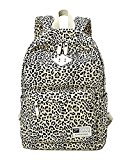 Moollyfox Women Leopard Print Travel Backpack Preppy Style School Bag Large Capacity Backpack For Students Black