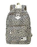 Moollyfox Women Leopard Print Travel Backpack Preppy Style School Bag Large Capacity Backpack For Students Black