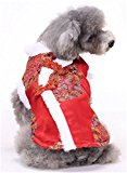 Stillshine Pet dog cat clothes Tang suit New Year dress (XXL, Red)