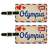 Air Mail Postcard Love for Olympia Luggage Suitcase Carry-On ID Tags Set of 2