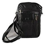 Men's Unisex Small Black Leather Bag Travel Organiser Pouch Camera Man Bag with adjustable shoulder strap