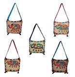 Indian Vintage Elephant Design Multi Color Ripped Indian Sling Cross Body Long Shoulder Bag Rajasthali LOT of 5 Pcs