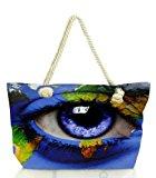 Snoogg World Map Around An Eye 2847 Women Anchor Messenger Handbag Shoulder Bag Lady Tote Beach Bags Blue