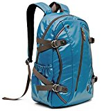 Evecase 15.6 Inch Laptop Backpack, Water-Resistant Leather School Bag Daypack College Shoulder Bag Travel Bag for Apple Acer ASUS Dell HP Lenovo Sony Laptop Chromebook Ultrabook MacBook - Blue