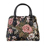 Signare Womens Fashion Canvas Tapestry Convertible Shoulder Handbag in Floral Peony Design