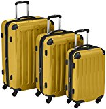 HAUPTSTADTKOFFER - Alex - Set of 3 Hard-side Luggages Glossy Suitcase Hardside Spinner Trolley Expandable (S, M & L) Yellow
