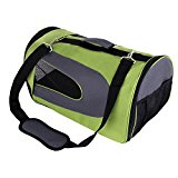 Amzdeal® Strong Breathable Oxford Fabric Pet Dog Cat Puppy Travel Carry Carrier Case Cage Tent Kennel Bag Crates (Green, 45*26*27cm)