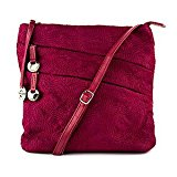 Travelon Embroidered Shoulder Bag w/Front Pockets (Ruby)