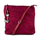 Travelon Embroidered Shoulder Bag w/Front Pockets (Ruby)