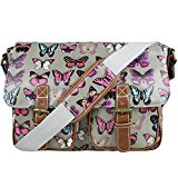 Miss Lulu Womens Oilcloth Satchel Bag Butterfly Grey
