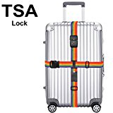 Luggage Strap, Heavy Duty Cross Design Adjustable Packing Belts Long Suitcase Bag Security Straps Lock (TSA Luggage Strap)