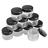 10Pcs/20 Gram Clear Cosmetic Emulsion Sample Empty Box Vial Case Plastic Round Pot Jars with Black Lids for Nail Powder Eye Shadow Container