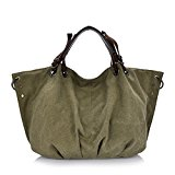 KISS GOLD(TM) European Style Canvas Tote/Shoulder Bag (Army Green)